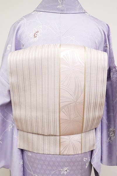 あおき【K-6801】本場筑前博多織 紗 八寸名古屋帯 桜色 縞に抽象文(証紙付)(N)