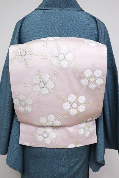 あおき【L-5115】袋帯 薄桜色 花文