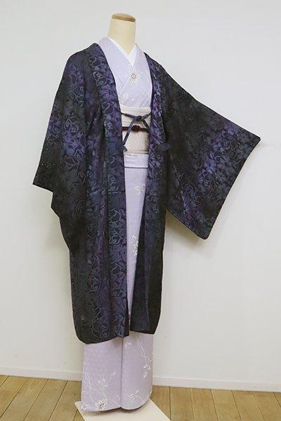 あおき【E-1244】紋紗 羽織 墨色 竪暈かしに花文(羽織紐付き・反端付)