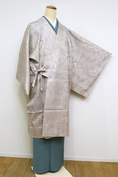 銀座【E-1247】西陣製 夏御召地 道中着 亜麻色 装飾文 (反端付)
