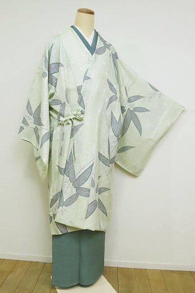 銀座【E-1251】紋紗 道中着 白緑色 笹文(反端付)(N)