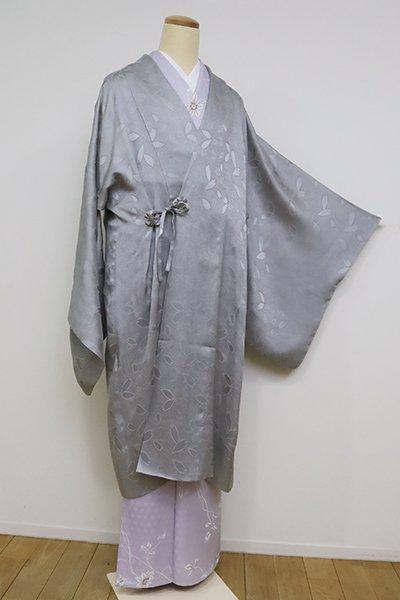 銀座【E-1254】紋紗 道中着 灰青色 桜の地紋
