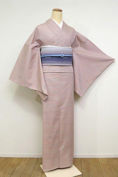 銀座【A-3104】(L)単衣 紬 薄柿色 多彩な横縞