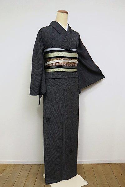銀座【A-3105】(L・広め)単衣 本塩沢 黒色 亀甲に花文(反端付)