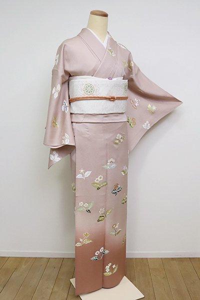 あおき【B-2602】単衣 染一ッ紋 訪問着 水柿色 花文(伊勢丹扱い)