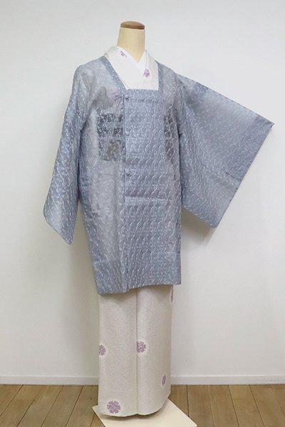 あおき【E-1256】薄物 刺繍 道行コート 藍鼠色 植物文