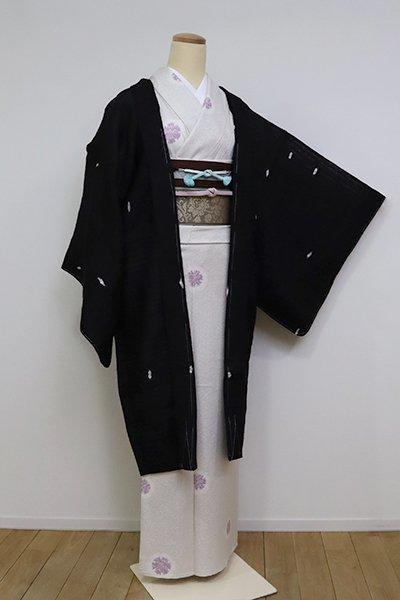 あおき【E-1257】薄物 羽織 黒色 絞り染め 幾何文