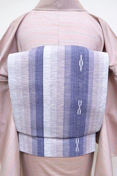 あおき【K-6803】竹富ミンサー織 八寸名古屋帯 白梅鼠色×紅掛花色 縞に絣文(証紙付)
