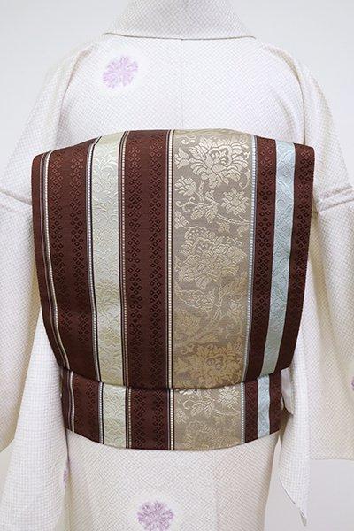 あおき【K-6805】本場筑前博多織 八寸名古屋帯 赤褐色 縞に牡丹唐草文(証紙付)(N)