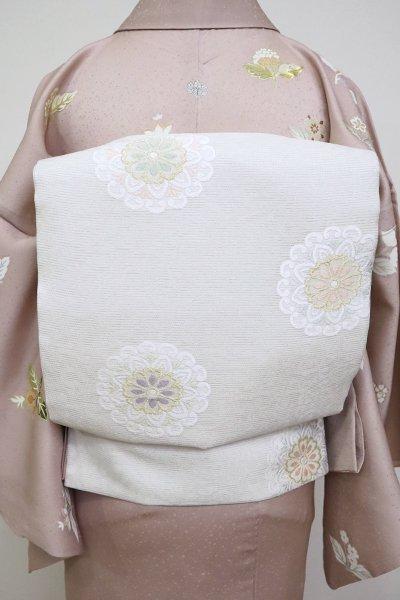 あおき【L-5116】西陣製 絽袋帯 白練色 唐草に華文(証紙付)(N)