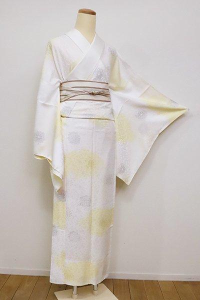 あおき【F-436】(L・広め)礼装用 長襦袢 白色×淡黄色 雲に装飾文(伊勢丹扱い)