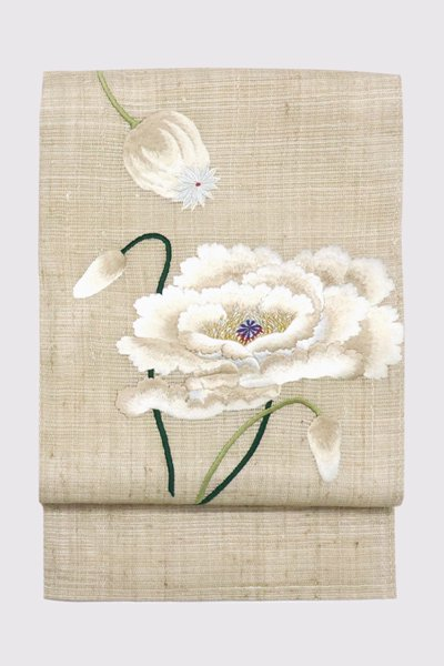 銀座【帯3386】刺繍 名古屋帯 亜麻色 芥子の花 (工芸キモノ野口製)