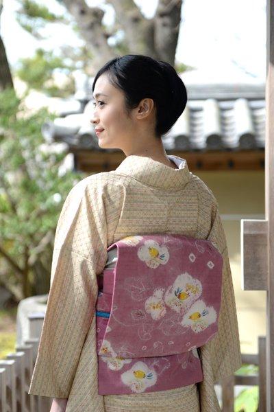 銀座【帯3391】鈴木紀絵作 染名古屋帯