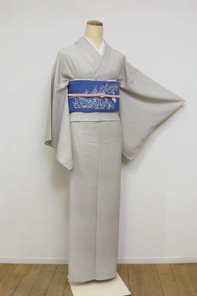 【C-1893】竪絽 江戸小紋 砂色 伊予縞(反端付)