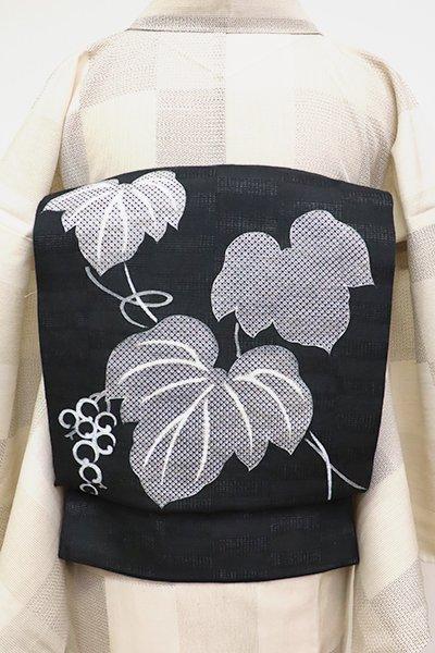 銀座【K-6806】絽麻地 染名古屋帯 黒色 山葡萄の図
