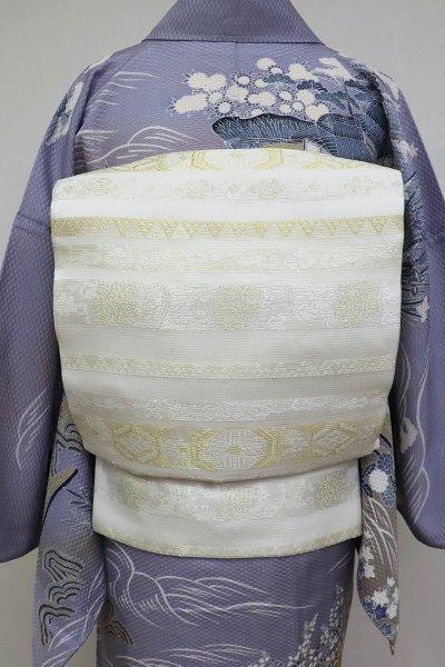 あおき【L-5118】絽 袋帯 白色 金銀の装飾文 横段