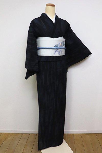 あおき【A-3109】紗紬 黒色 小絣 壺垂れ文