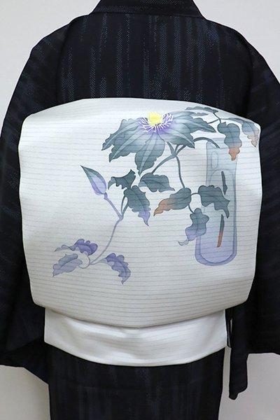 あおき【K-6812】絽塩瀬地 染名古屋帯 藍白色 夏の花の図 (落款入)