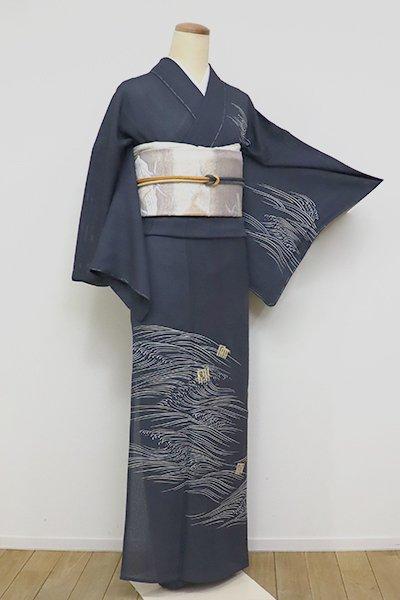 銀座【B-2607】絽 付下げ 藍鉄色 波に源氏香の図 (高島屋扱い・反端付)