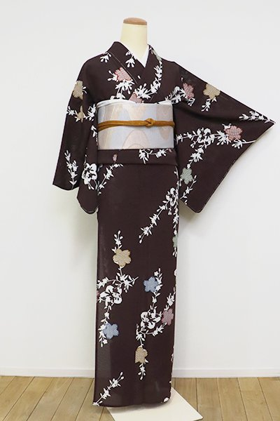 あおき【D-2533】(S)絽小紋 黒鳶色 枝垂れ桜の図 (反端付)