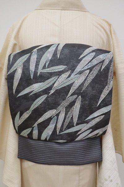 銀座【L-5122】西陣 加納幸製 絽 袋帯 墨色 笹の図 (落款入)