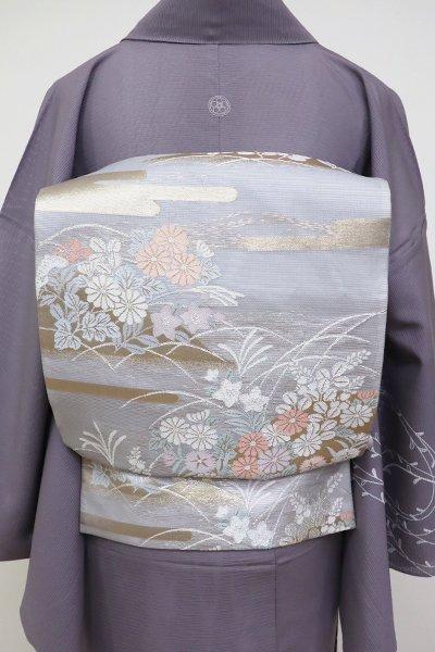 あおき【L-5123】絽 袋帯 霞に秋草の図