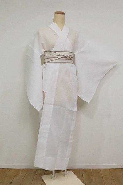 【F-454】麻 長襦袢 白色 撫子の地紋(半衿付)