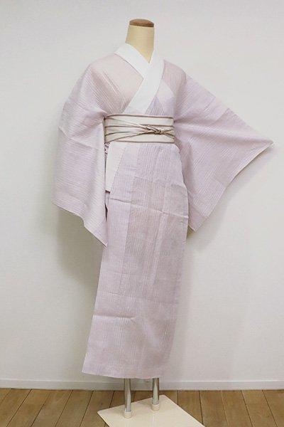 あおき【F-455】竪絽 小千谷縮 長襦袢 浅紫色 (半衿付・反端付)