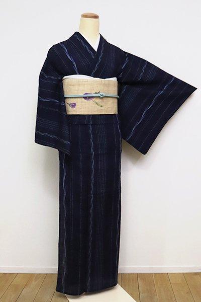 銀座【A-3110】(S・広め)小千谷 絹縮   濃藍色 竪縞(証紙付)