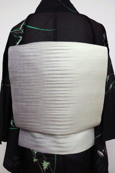 銀座【K-6814】桐生織 本麻夏九寸名古屋帯 乳白色×薄鼠色 幾何文