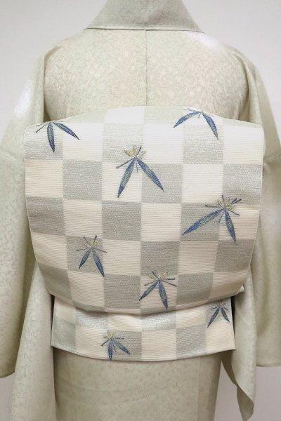 あおき【L-5129】西陣製 絽 袋帯  白色 市松に笹文(証紙付)