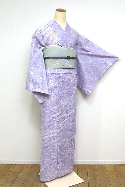 あおき【D-2537】(広め) 綿絽 浴衣 薄紫色 墨流し