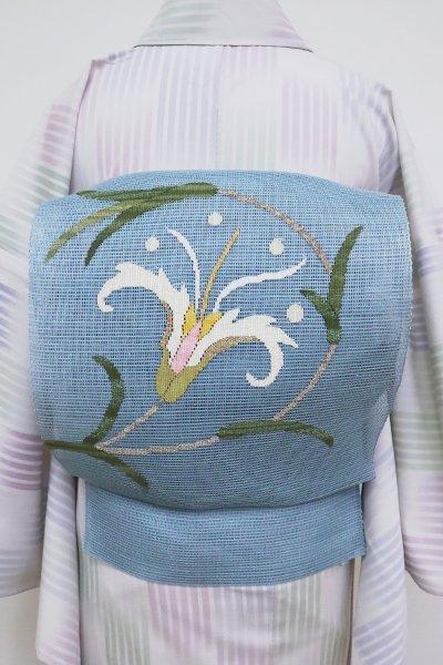 あおき【K-6820】洛風林製 夏八寸名古屋帯 舛花色 花の図