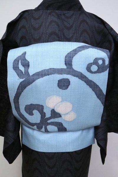 あおき【K-6825】紬地 夏 織名古屋帯 空色 花の図