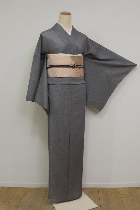 銀座【C-1902-2】絽 江戸小紋 万筋 墨黒色 (反端付) (N)