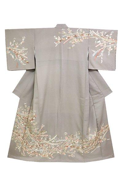 銀座【着物2808】蘇州刺繍 訪問着 利休白茶色 花々に鬘帯