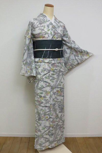 銀座【D-2538】絽小紋 胡粉色 流水に四季花の図(反端付)