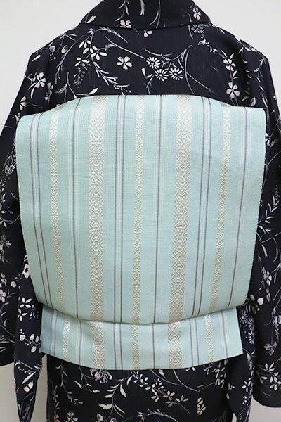 あおき【K-6827】本場筑前博多織 紗献上 八寸名古屋帯 千草鼠色