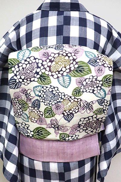 あおき【K-6828】栗山工房製 大麻地 型染名古屋帯 白色 蝶に紫陽花の図(反端付・落款入)