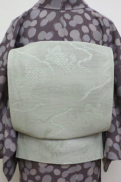 銀座【K-6829】小森草木染工房製 本場筑前博多織 夏八寸名古屋帯 柳鼠色 蟹の図(証紙付)