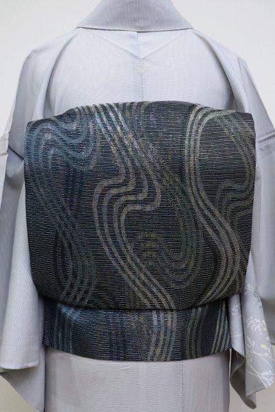 あおき【L-5132】絽 袋帯 藍鉄色 抽象文