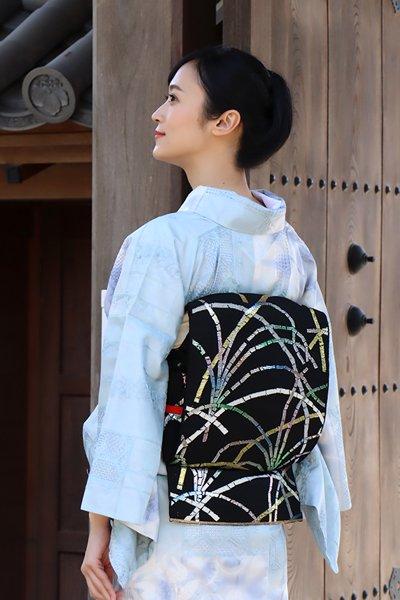 【帯3423】龍村平蔵製 紗 本袋帯 銘「豊公芒文」