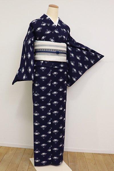 銀座【A-3111】単衣 本場久留米絣  濃藍色 扇面の図(証紙付)