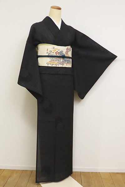 あおき【A-3112】紗紬 黒色 雪輪文