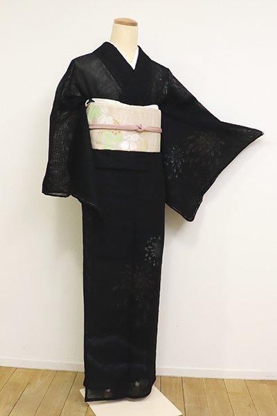 あおき【B-2615】(S)紗合わせ 付下げ 黒色 花火の図