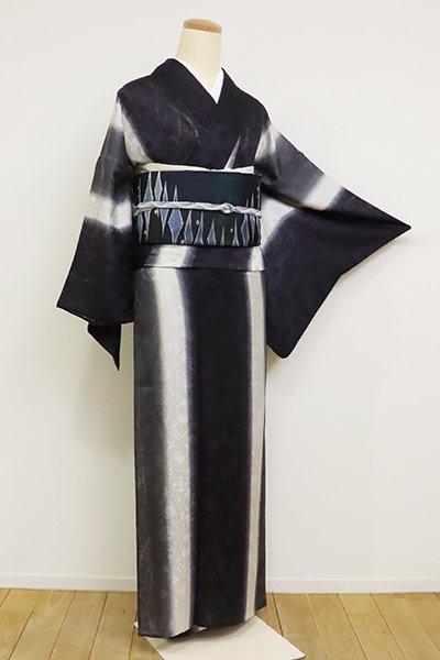 銀座【D-2540】(広め)紋紗 小紋 竪暈かし 藍黒系