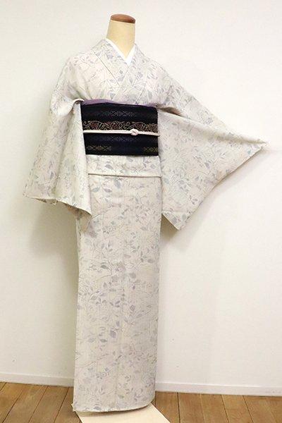 銀座【D-2541】(L・細め)きもの英製 薄物 小紋  灰白色 秋草の図