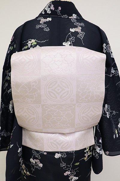 銀座【K-6830】絽 織名古屋帯 淡紅藤色 遠州緞子