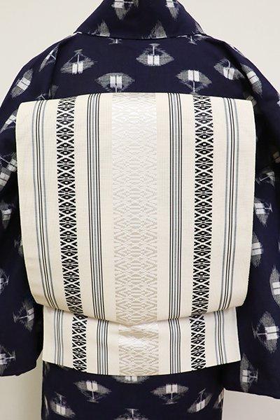 銀座【K-6831】本場筑前博多織 紗献上 八寸名古屋帯 象牙色(証紙付)(N)