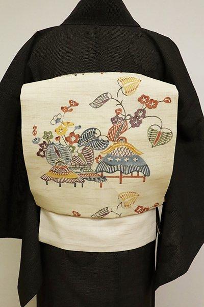 銀座【K-6832】生平麻地 型絵染 名古屋帯  薄香色 葵や家並みの図